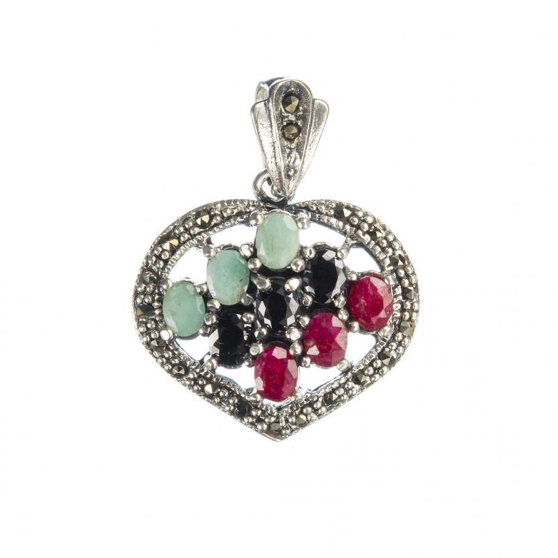 Ciondolo Cuore di Rubino, Smeraldo, Zaffiri Neri e Argento 925