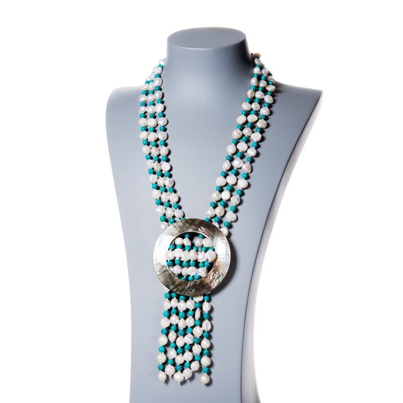 Collana in Perle d'Acqua dolce, Turchese e Madreperla