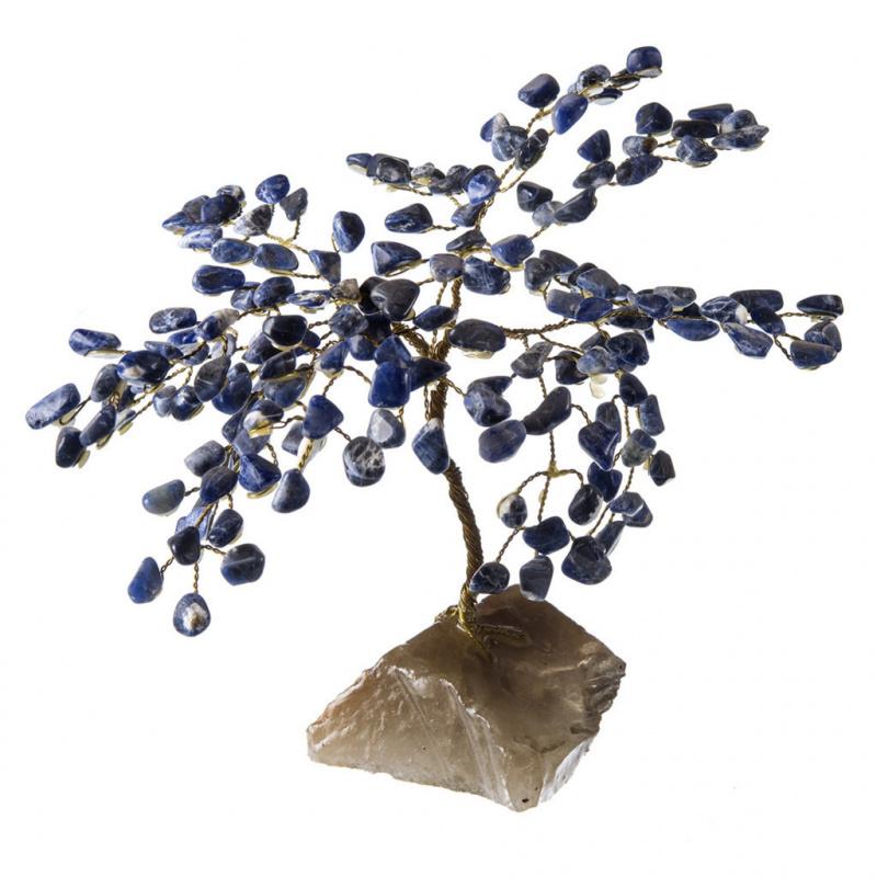 Albero in Sodalite su Elemento di Quarzo Fumè