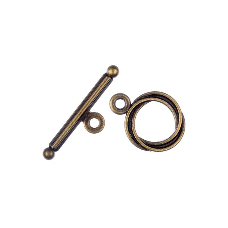 Chiusura a T color Oro Anticato diametro 1.28 lunghezza 1.7 cm - 5 pz.