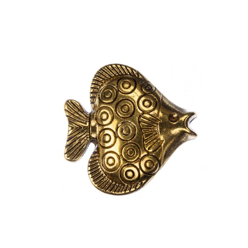 Distanziatore Tibetano Decorato Pesce color Oro 2.35x0.5 cm - 1 pz.