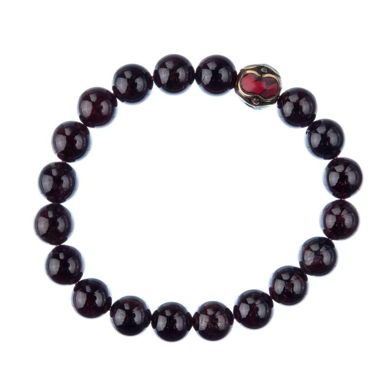 Bracciale Granato con elemento tibetano, elastico, sfere 10mm