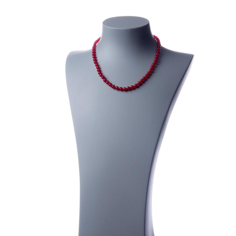 Collana corta Giada Rossa e Ag 925, sfere 6mm