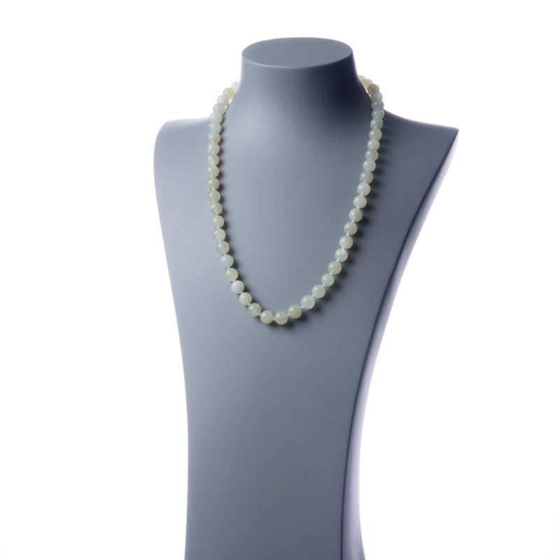 Collana lunga New Jade e Ag 925, sfere 10mm
