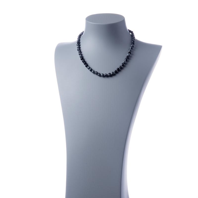 Collana corta Ossidiana Fiocco di Neve e Ag 925, sfere 6mm