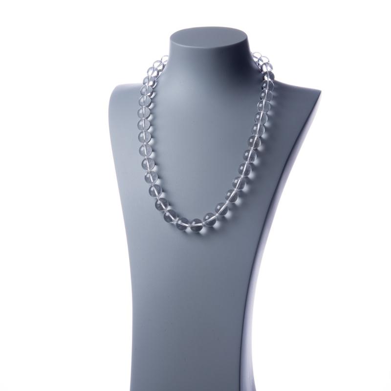 Collana lunga Cristallo di Rocca e Ag 925, sfere 14mm