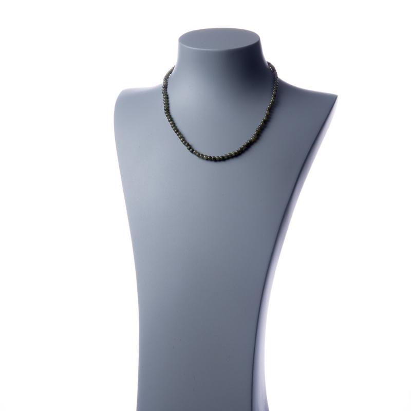 Collana corta Giada Nefrite e Ag 925, sfere 4mm