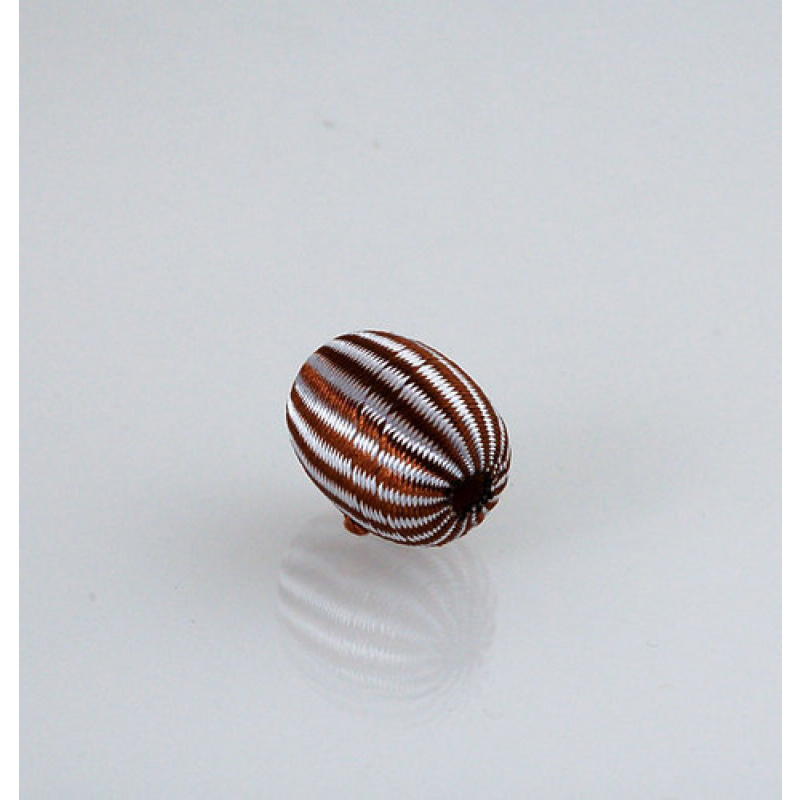 Pallina ovale Tessuto Filo Bianco e Marrone - 1 pz.