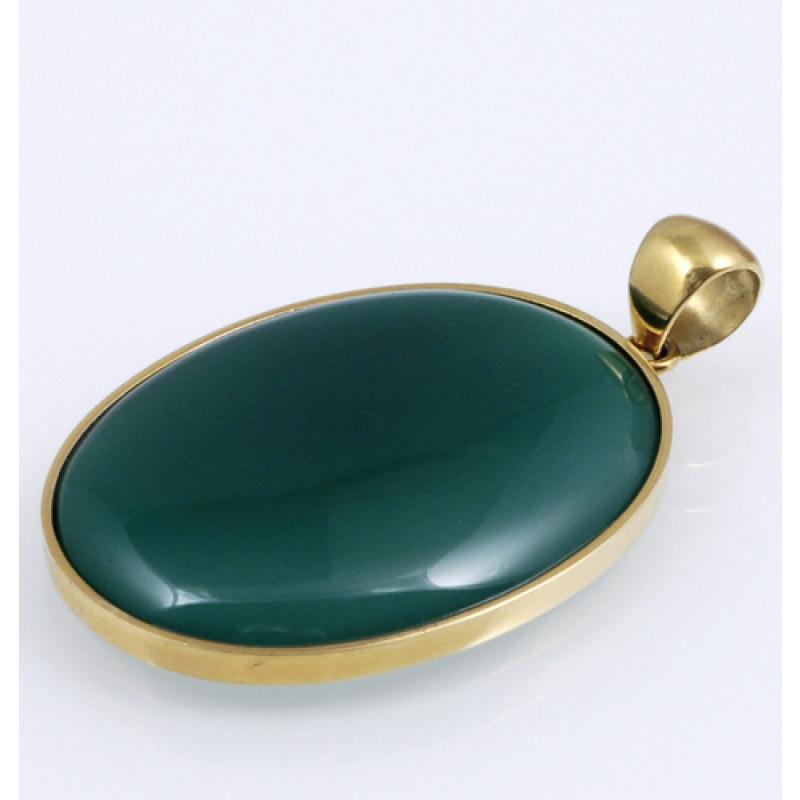 Ciondolo con cabochon in Agata Verde e Oro 18k