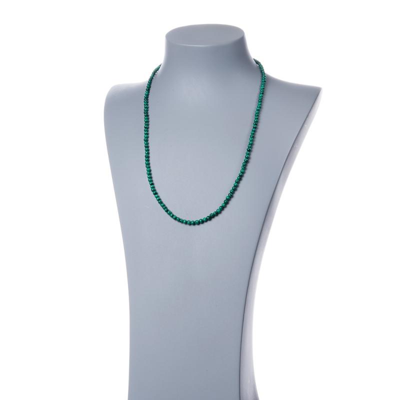 Collana lunga Malachite e Argento 925, sfere 4mm