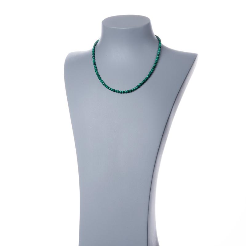 Collana corta Malachite e Argento 925, sfere 4mm