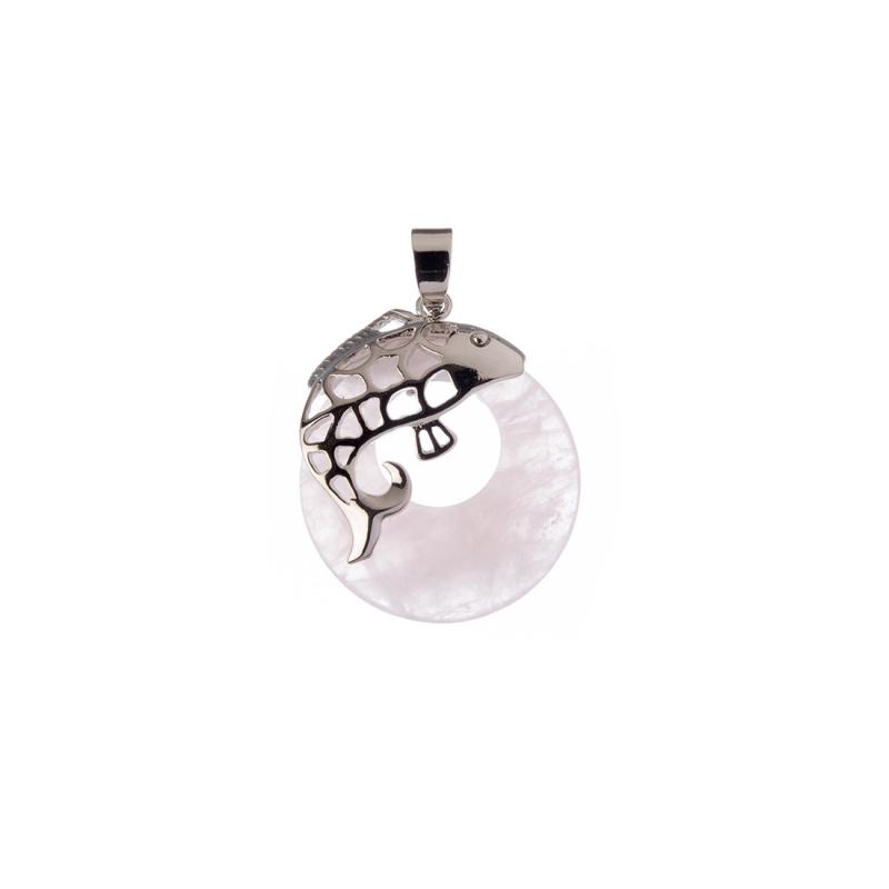 Ciondolo Creola in Quarzo Rosa in Ottone color Argento