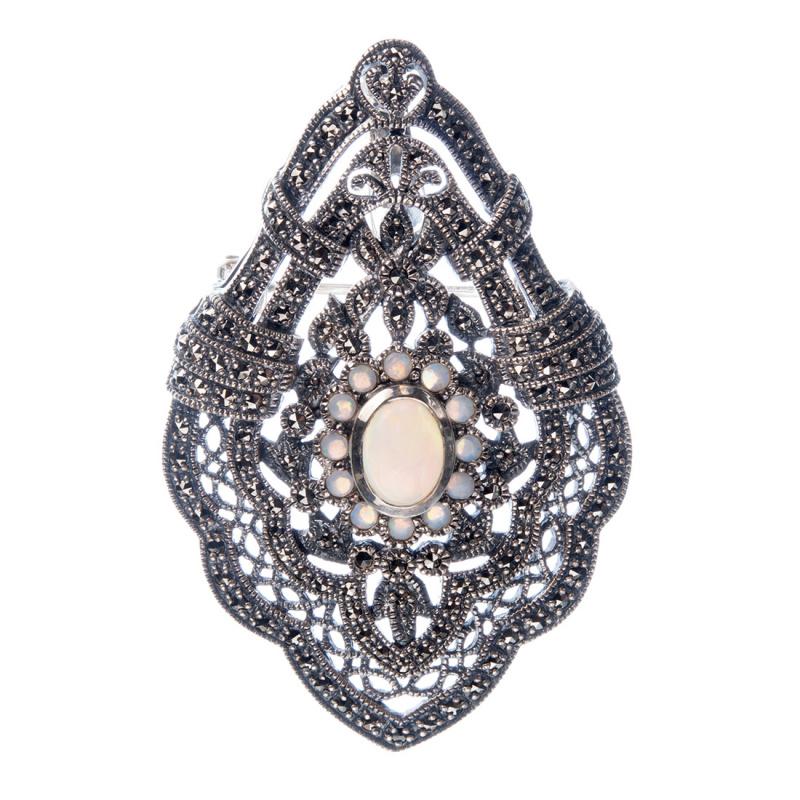 Spilla/Ciondolo decorata con Opale Arlecchino in Argento 925
