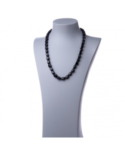 Collana Lunga di Ossidiana Nera burattata - 60cm