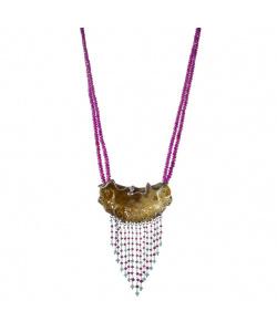 Collana di Giada, Radice di Rubino, Crisoprasio e Argento 925