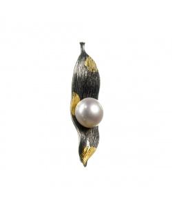 Ciondolo Foglia con Perla tonda e Argento 925