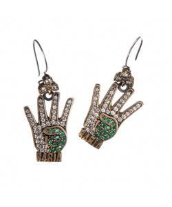 Orecchini pendenti di Agata Verde, Zirconi e Argento 925 - Stile Turco