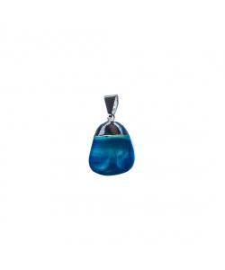 Ciondolo unisex in Agata Blu levigata