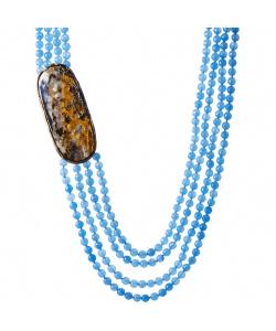 Collana di Opale Boulder, Agata Azzurra e Argento 925