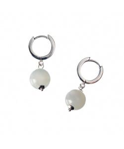 Orecchini di Pietra di Luna sfera 10 mm ed Argento 925