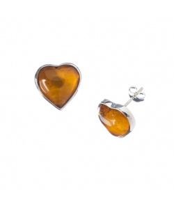 Orecchini cuore in Ambra e Argento 925