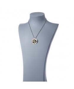 Collana in Olivina (Peridoto), Zaffiri, Perla e Argento 925