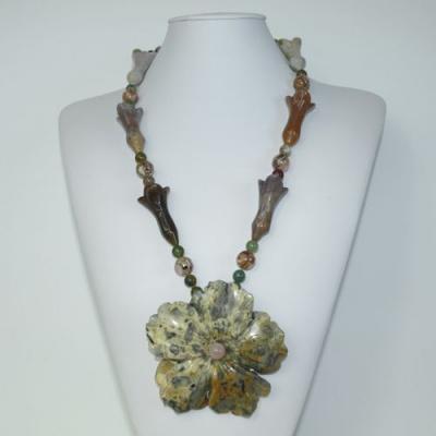Collana Lunga di Diaspro Orbicolare, Agata, Quarzo Rosa e Argento 925