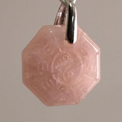 Ciondolo Unisex Yin Yang in Quarzo rosa levigato e Ag 925