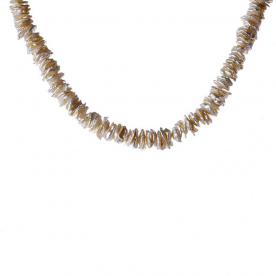 Collana di Perle Bianche Keshi e Argento 925