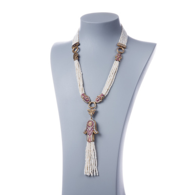 Collana di Perle e Zirconi con Argento 925 dorato