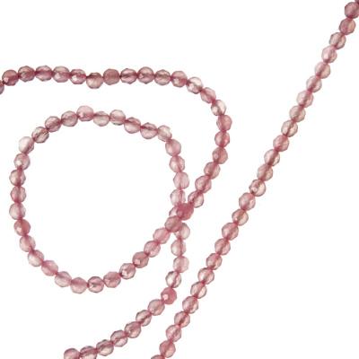 Quarzo Rosa - Filo di sfere sfaccettate da 2mm