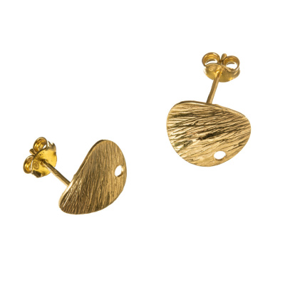 Orecchino a farfallina in Argento 925 - Tondo rigato diametro 1.3 cm - 2 pz.