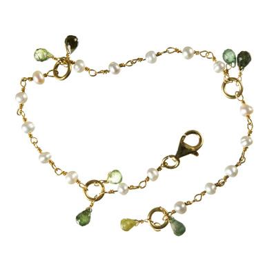 Bracciale con Perle Naturali, Tormalina Multicolor e Argento 925 dorato