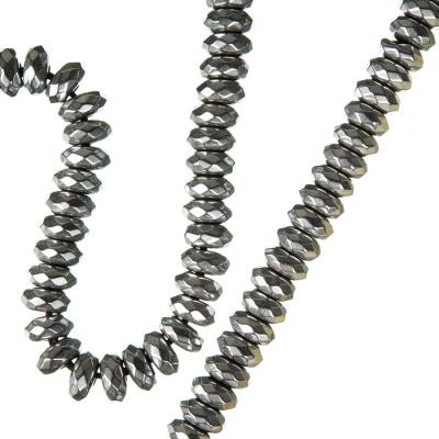 Ematite - filo di rondelle sfaccettate da 6 mm color Argento