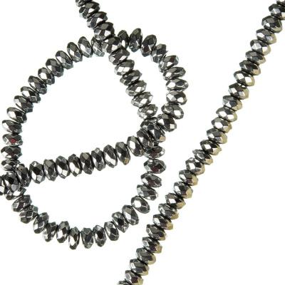 Ematite - filo di rondelle sfaccettate da 4 mm color Argento