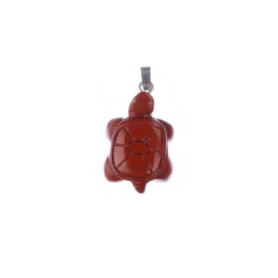 Ciondolo Unisex in Diaspro Rosso - Tartaruga di terra