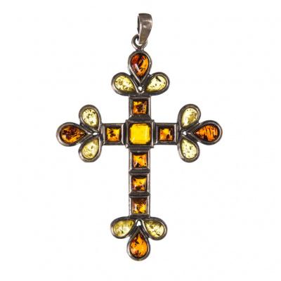 Ciondolo Croce in Ambra e Argento 925