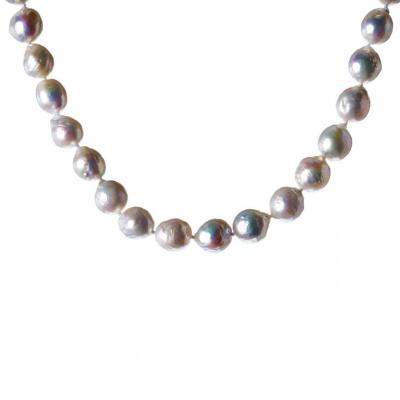 Collana di Perle Bianche Tonde e Argento 925 Dorato