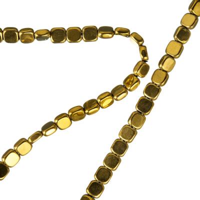 Ematite - filo di elementi quadrati color Oro