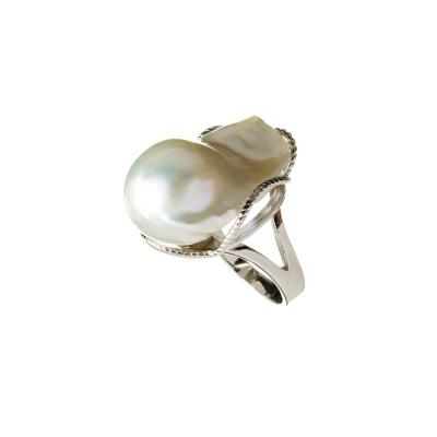 Anello con Perla Naturale e Argento 925