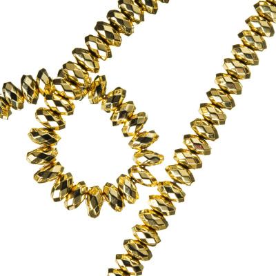 Ematite - filo di rondelle sfaccettate da 6 mm color Oro