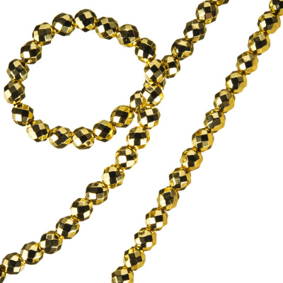 Ematite - filo di elementi sferici sfaccettati color Oro