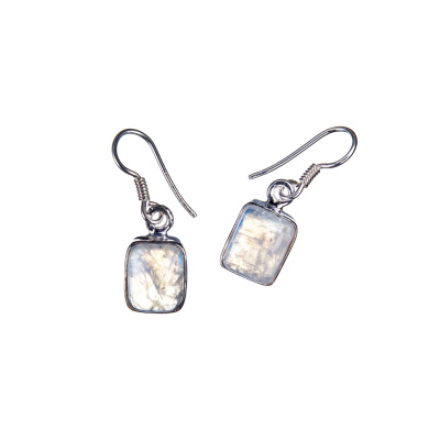 Orecchini con cabochon rettangolare di Labradorite Bianca e Argento 925