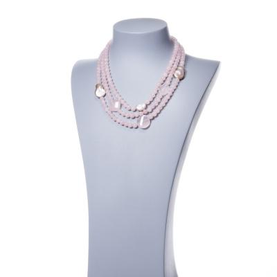 Collana in Quarzo Rosa, Perla e Argento 925