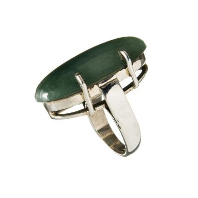 Anello Ovale in Agata Verde e Argento 925