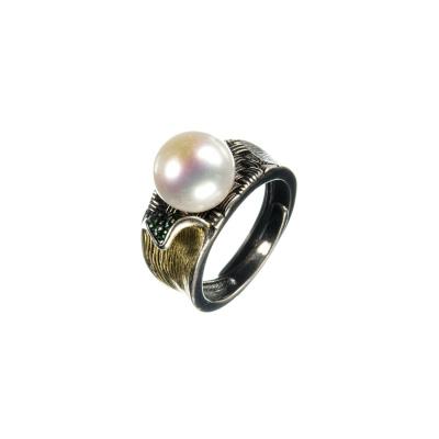 Anello con Perla Tonda e Argento 925 Nero decorato