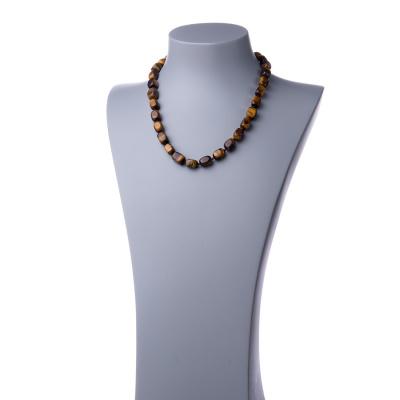 Collana corta in Occhio di Tigre e Argento 925 - 48 cm