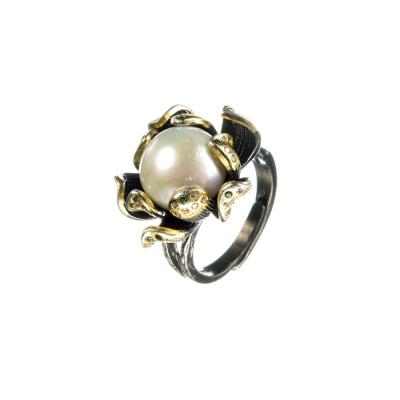 Anello Fiore con Perla e Argento 925 Nero e Dorato