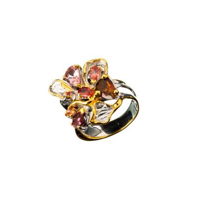 Anello di Zaffiri Multicolor e Argento 925