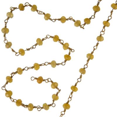 Catena in Agata Gialla e Argento 925 dorato - Rosario - 20 cm.
